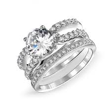 wedding set 925 silver cz band engagement wedding ring set