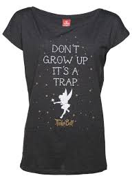 s charcoal marl disney tinker bell don t grow up slouch t shirt