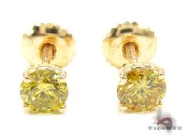 mens gold stud earrings canary vs studs style yellow gold 18k