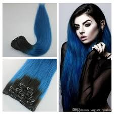 human hair clip in extensions 1b blue ombre clip in human hair extensions human hair clip in