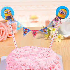 despicable me cake topper straw string banner happy birthday cake topper despicable me
