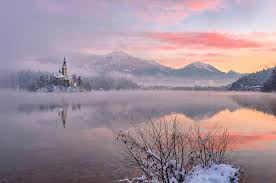 lake bled dreamy pixel gentle tones at lake bled on a winter morning