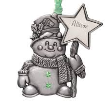 personalized birthstone ornaments personalized pewter birthstone snowman ornament kimball