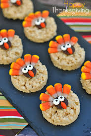 thanksgiving themed appetizers turkey rice krispie treats shugary sweets