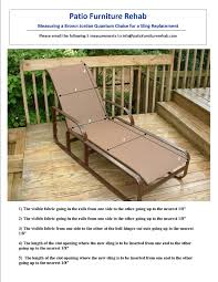 Telescope Furniture Replacement Slings by How To Pdfs For Patio Or Pool Furniture Repairs