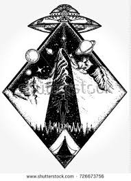 ufo tattoo art tshirt design mystical stock vector 726673756