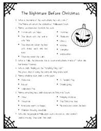 the nightmare before christmas movie questions only by la prof geek