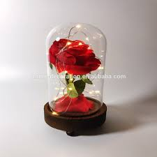 rose in glass wholesale rose in glass dome bell jar cloche terrarium with led