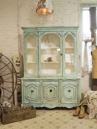 Reserved For Sarah Painted Cottage Chic Shabby Aqua China Cabinet