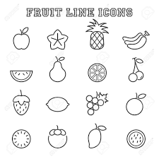 fruit line icons mono vector symbols royalty free cliparts
