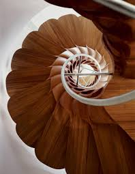 the spiral staircase made of tropical hardwood private residence