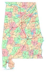 Map Of America And Cities by Large Detailed Administrative Map Of Alabama State With Roads