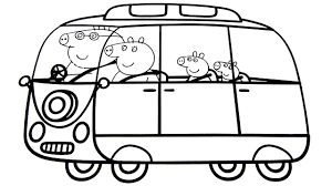 peppa pig family in new car coloring book coloring pages video