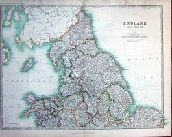 Wales England Map by 11 Print 1914 Geography Maps England Wales Isle Man North Sea