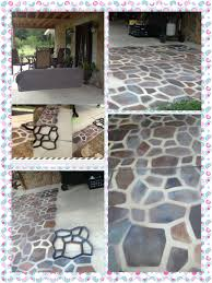 Painted Concrete Porch Pictures by A Stone Patio Floor With Spray Paint I Previously Posted This