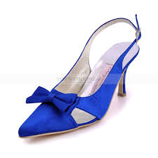 wedding shoes blue blue bow detail pointy heel wedding shoes with sling back