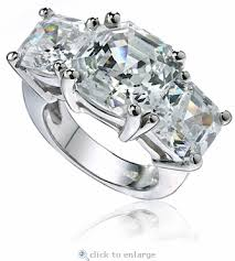4 carat cubic zirconia engagement rings 8 5 carat center three asscher cut cubic zirconia ring
