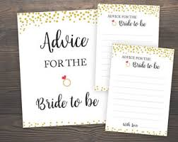 Advice To The Bride Cards Advice For The Bride Etsy