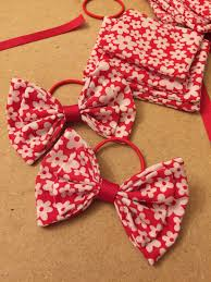 handmade hair gorgeous and white floral fabric hair bows on thin bobbles