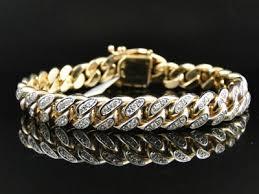 gold bracelet diamonds images Mens solid yellow gold miami cuban genuine 12 mm diamond bracelet jpg