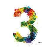 color paint splashes gradient vector font symbols watercolor