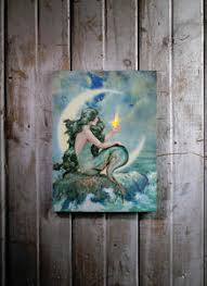 radiance flickering light canvas mermaid with flickering light radiance lighted canvas wall art 71342