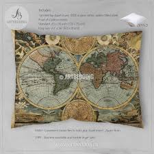 antique map world world map hemisphere bedding vintage map duvet cover