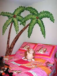 childrens painted wall murals cathie s murals childrens murals beach whimsical palm trees over bed