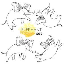 vector illustration with outline flying elephant with butterfly
