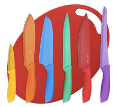 amazon knives kitchen amazon com utopia kitchen colored knife set with cutting board for