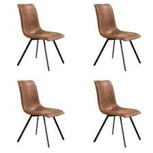 chaises s jour lot de 4 chaises de séjour pepe en éco cuir cognac belfurn