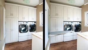 bathroom scenic washer and dryer built cabinets ironing board