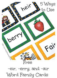 words cards free word family cards for erry eir and air