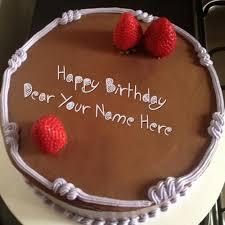 write name on chocolate strawberry birthday cake happy birthday