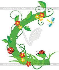 flower letter c vector clip art