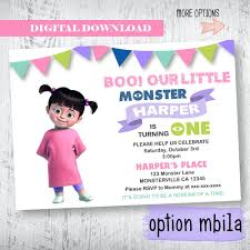 monsters inc invitation monsters inc boo birthday by wbevents