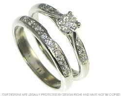 wedding ring sets uk vintage styled platinum and diamond engagement and wedding ring set