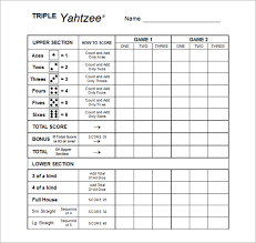 yahtzee score sheets template triple yahtzee score card sample
