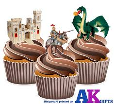 castle knight dragon mix cake decorations 12 edible wafer cup