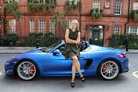 blue porsche spyder tennis superstar maria sharapova and the new porsche boxster