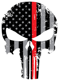 Blue Flag White X Amazon Com Punisher Red Line Skull 5 5 X 4 Inch Tattered Subdued