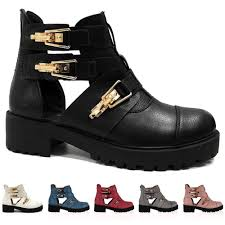 ladies biker boots womens cut out flats heel chunky buckle military biker ankle boots