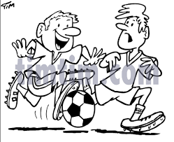 free drawing of a soccer football game bw from the category