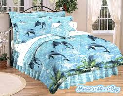 Surfer Comforter Sets Dolphins Coastal Surf Beach Tropical Palm Leaf 3pc Twin Or 4p King