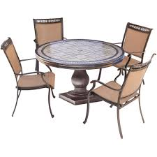Aluminum Dining Room Chairs Dining - hanover fontana 5 piece aluminum round outdoor dining set with
