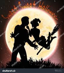 halloween background witch moon halloween poster witch and a man on the moon background stock