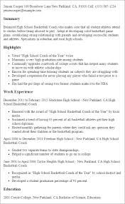 Soccer Coach Resume Samples by High Basketball Coach Example Summary Resume And Highlights