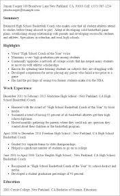 high basketball coach example summary resume and highlights
