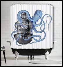 Vintage Nautical Shower Curtain Vintage Diver Helmet Shower Curtain Octopus Shower Curtain