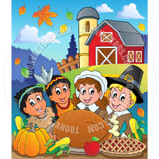 thanksgiving theme cartoon thanksgiving feast by clairev toon vectors eps 38729
